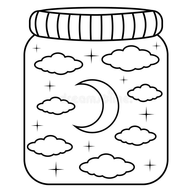Natthimmel i en exponeringsglaskrus Den drog svartvita handen klottrar moln, månen och stjärnor royaltyfri illustrationer
