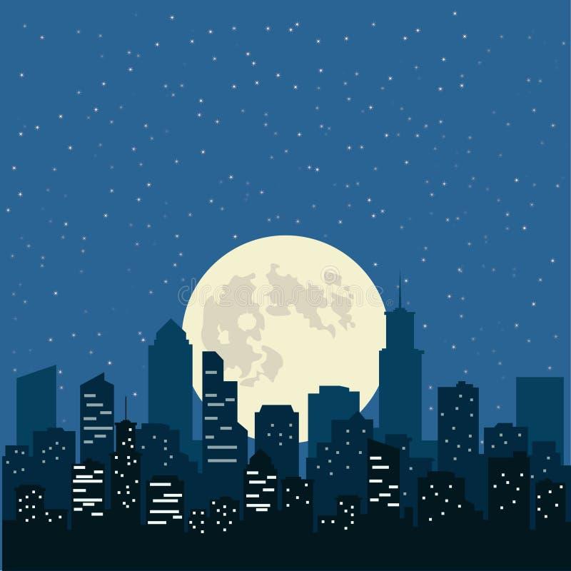 Natthimmel med den gula månen över staden, illustration royaltyfria foton