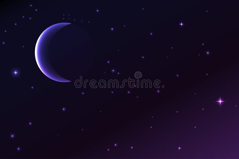 Natthimmel med en växande måne och stjärnor royaltyfri illustrationer