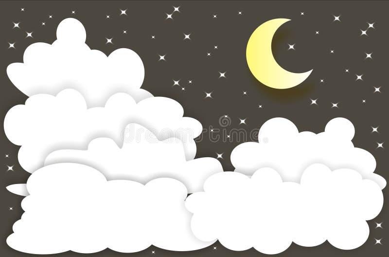 Natthimmel med månsken stock illustrationer