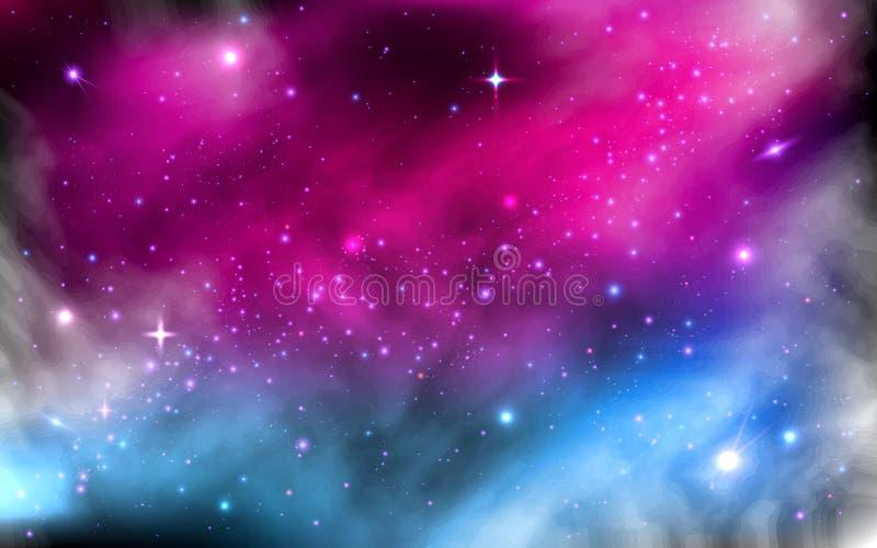 Natthimmel med massor av stjärnor Färgrik stjärnklar nebulosa Mjölkaktig väg med stardustutrymmegalaxen och ljusa glänsande stjär vektor illustrationer