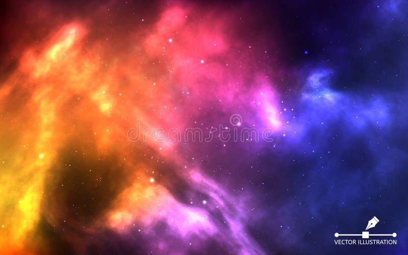 Natthimmel med massor av stj?rnor Realistiskt färgkosmos med nebulosan och ljusa stjärnor Färgrikt stjärnklart himmelbegrepp för  royaltyfri illustrationer