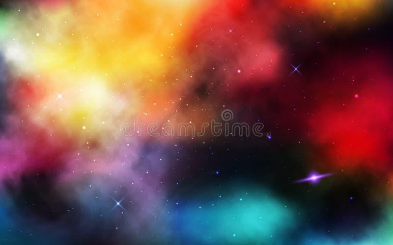 Natthimmel med massor av stj?rnor Realistiskt kosmos med stardust och nebulosan Färgrikt universum med planeten och den mjölkakti vektor illustrationer
