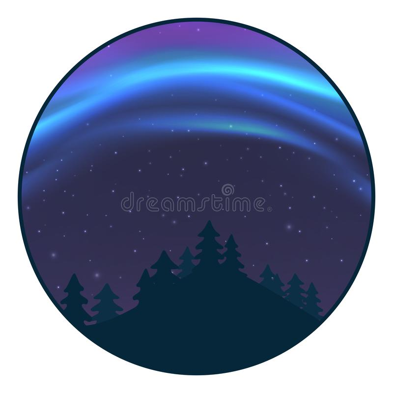 Natthimmel med morgonrodnad över prydlig skog i vintern, blått nordligt ljus med stjärnor, polart ljust glöda, polara banderoller stock illustrationer