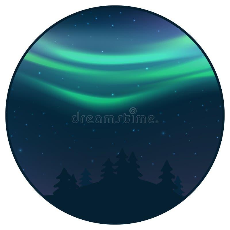 Natthimmel med morgonrodnad över prydlig skog i vintern, grönt nordligt ljus med stjärnor, polart ljust glöda som är polart stock illustrationer