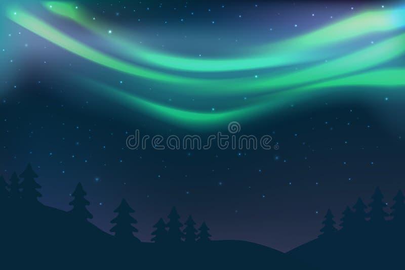 Natthimmel med morgonrodnad över prydlig skog i vintern, grönt norrljus med stjärnor, polart ljust glöda, polara banderoller royaltyfri illustrationer