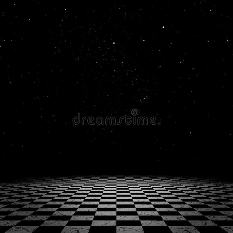 Natthimmel och rutigt golv vektor illustrationer