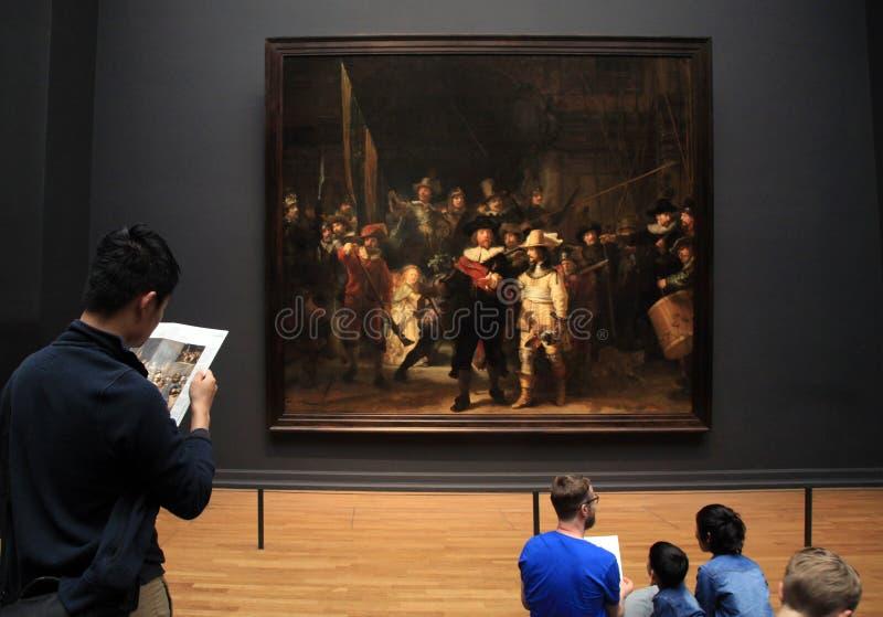 Nattklockan av Rembrandt på Rijksmuseumen i Amsterdam, Ne arkivfoto