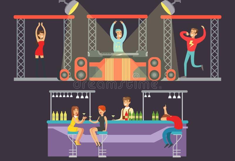 Nattklubbdans, parti i nattklubben, dj som spelar musik, showgirldans, manlig sångare som sjunger, män och kvinnor royaltyfri illustrationer