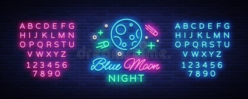 Nattklubblogo för blå måne i neonstil Neontecken, ljust baner, ljus nattklubbadvertizing för natt disko Design vektor illustrationer