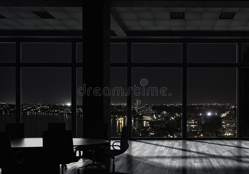 Nattkontorsinre Blandat massmedia royaltyfria bilder