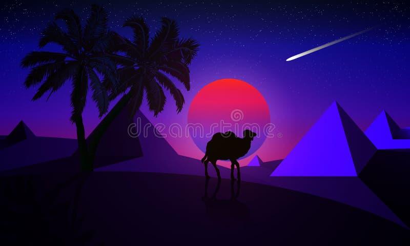 Nattlandskap av en palmträd och en kamel på en bakgrund av de royaltyfri illustrationer