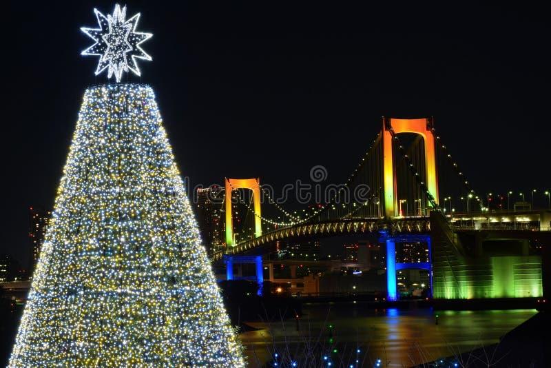 Nattlandskap av Tokyo, Japan under jul fotografering för bildbyråer