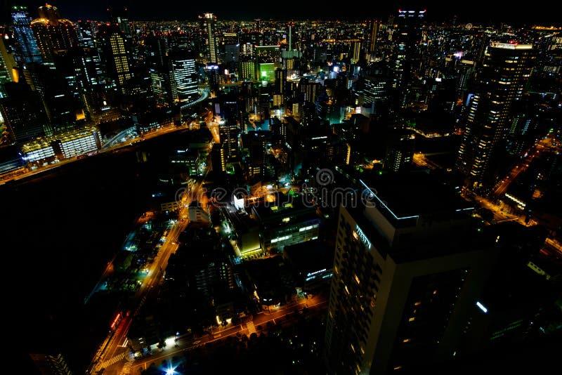 Nattlandskap från Umeda himmelbyggnad royaltyfri foto