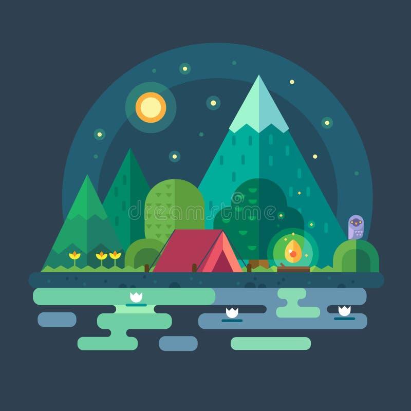 Nattlandskap i bergen vektor illustrationer