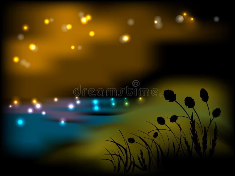 Nattlandskap med blommor och gräs stock illustrationer