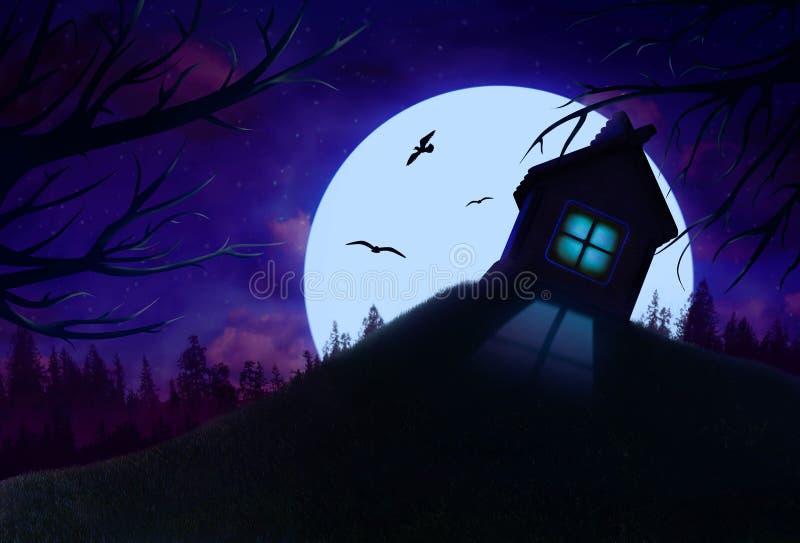 Nattlandskap med huset på kulleillustrationen royaltyfria bilder