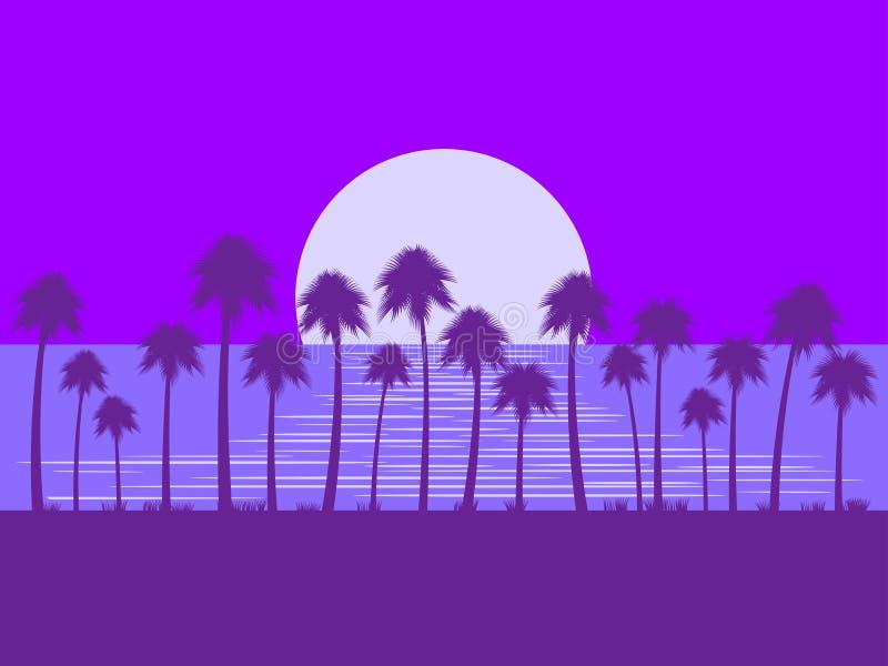 Nattlandskap med palmträd och månen Ilsken blick på vattnet Tropiskt landskap, strandsemester, romans vektor stock illustrationer