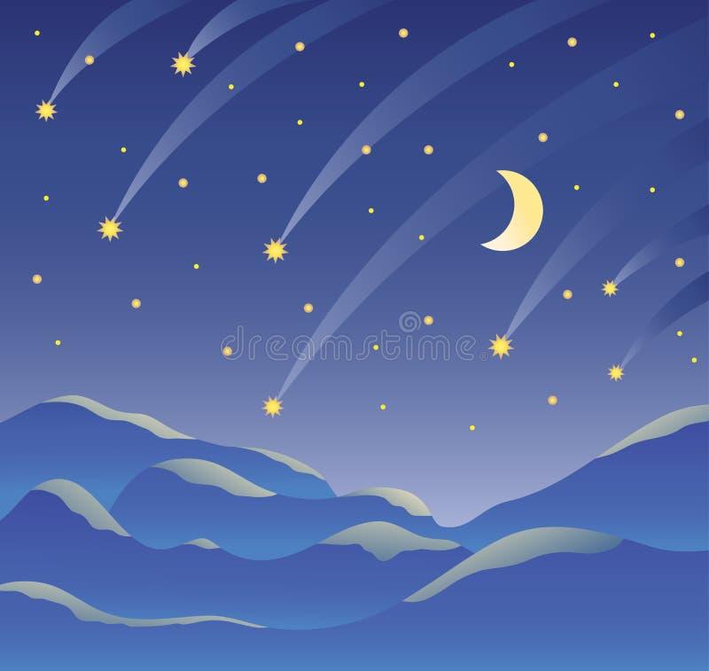 Nattlandskap, stjärnklar mörk himmel, månad och fallande stjärnor, berglandskap också vektor för coreldrawillustration vektor illustrationer