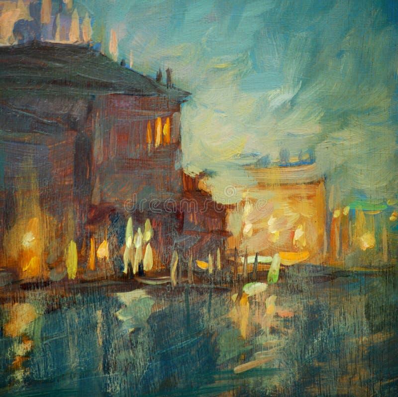 Nattlandskap till Venedig som målar vektor illustrationer