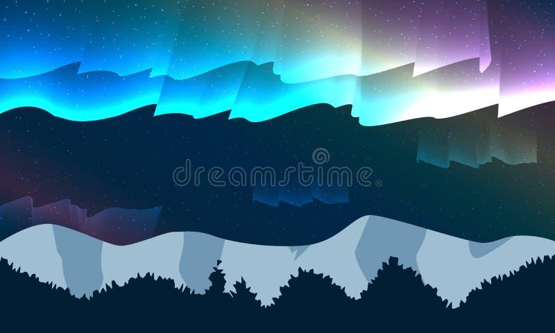 Nattlandskapberg med den färgrika stjärnan och morgonrodnad stock illustrationer
