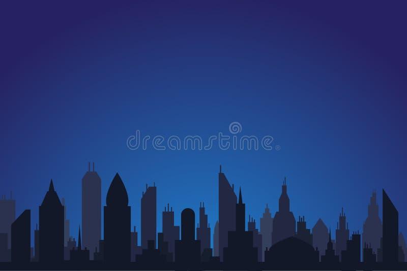 Nattlandskapet med stadskonturn av skyskrapor, lagerför vektorillustrationen vektor illustrationer