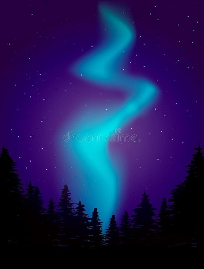 Nattlandskapillustration morgonrodnadljus royaltyfri illustrationer