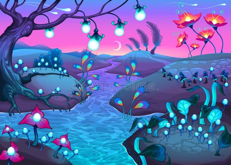 Nattligt landskap för fantasi royaltyfri illustrationer