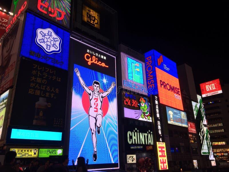 Nattljus Dotonbori Osaka Kansai Japan Travel fotografering för bildbyråer
