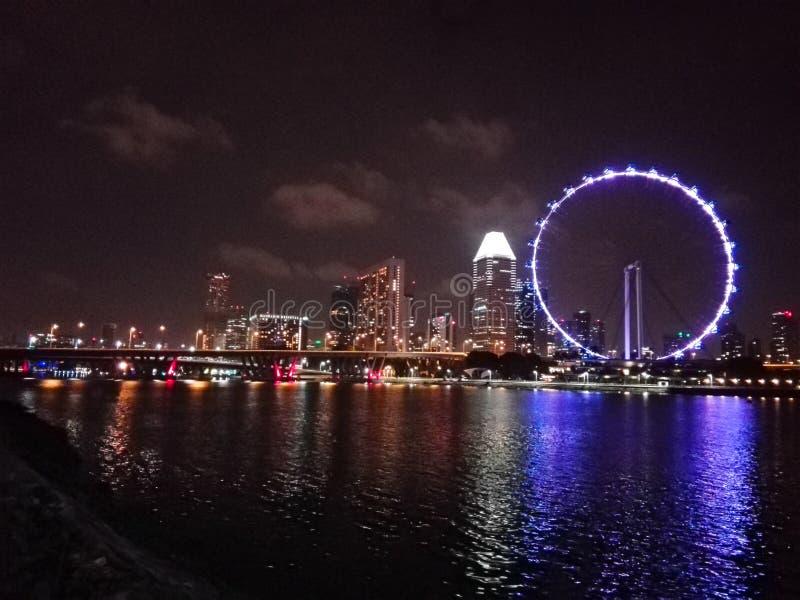 Nattljus i Singapore royaltyfri fotografi