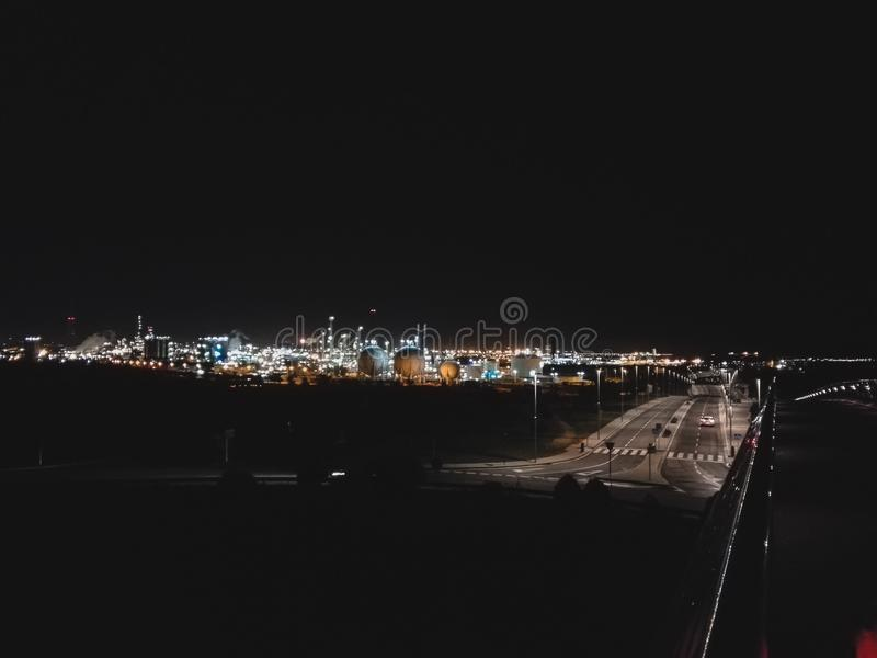 Nattljus i Spanien arkivbild