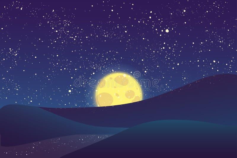 Nattmåne, glänsande stjärnor på blå himmel royaltyfri fotografi
