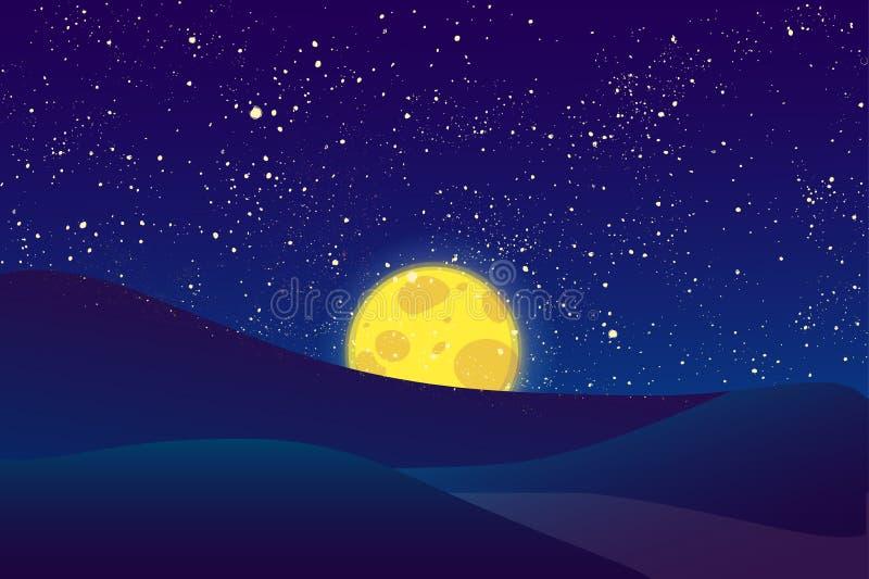 Nattmåne, glänsande stjärnor på mörker - blå himmel arkivfoton