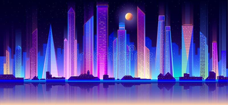 Nattmetropolisbyggnader på plan vektor för kust stock illustrationer