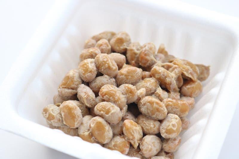 Natto, fermented soybeans. On white background stock photos
