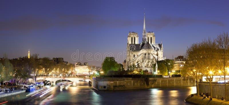 Nattpanorama av Notre Dame de Paris arkivfoto