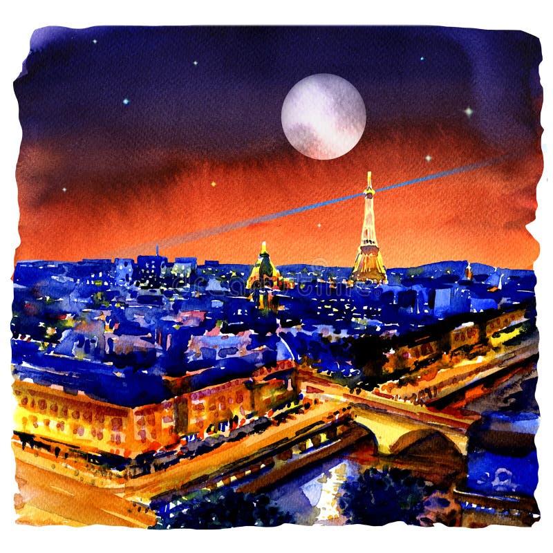 Nattpanorama av Paris horisont, Eiffeltorn, härlig sikt från Montparnasse, Frankrike, vattenfärgillustration arkivbilder