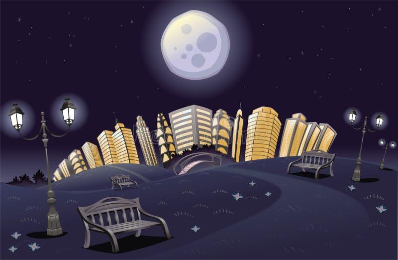 nattparkregnbåge royaltyfri illustrationer
