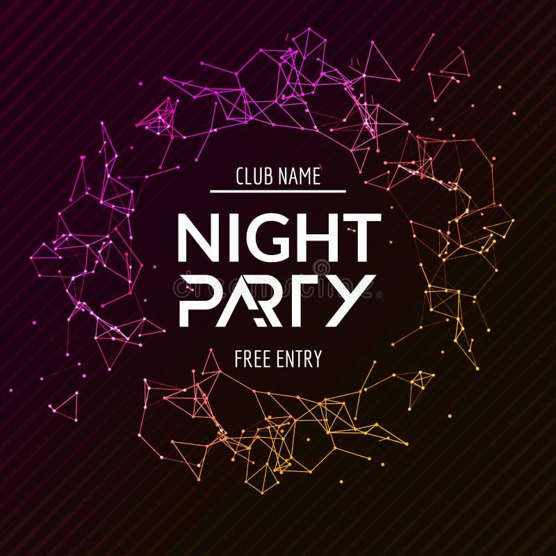 Nattpartiaffisch Skinande banerklubbadisko Dj dansar sommarinbjudan vektor illustrationer