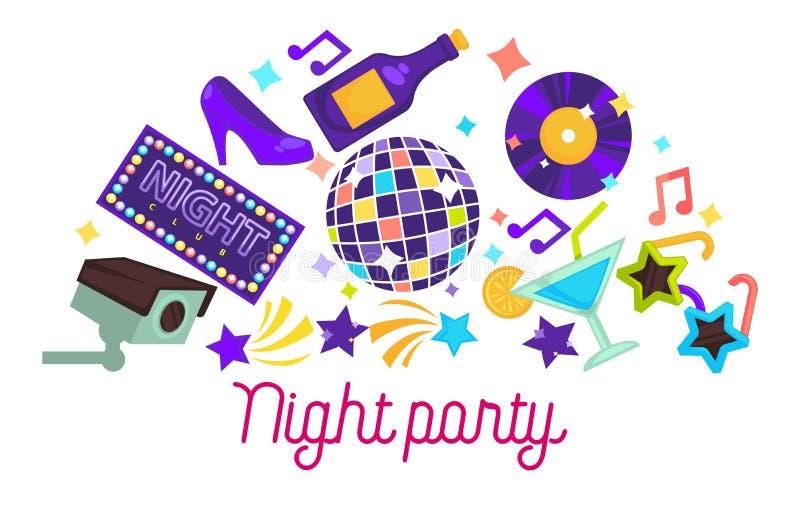 Nattpartiobjekt som dansar klubbadiskobollen och champagne royaltyfri illustrationer