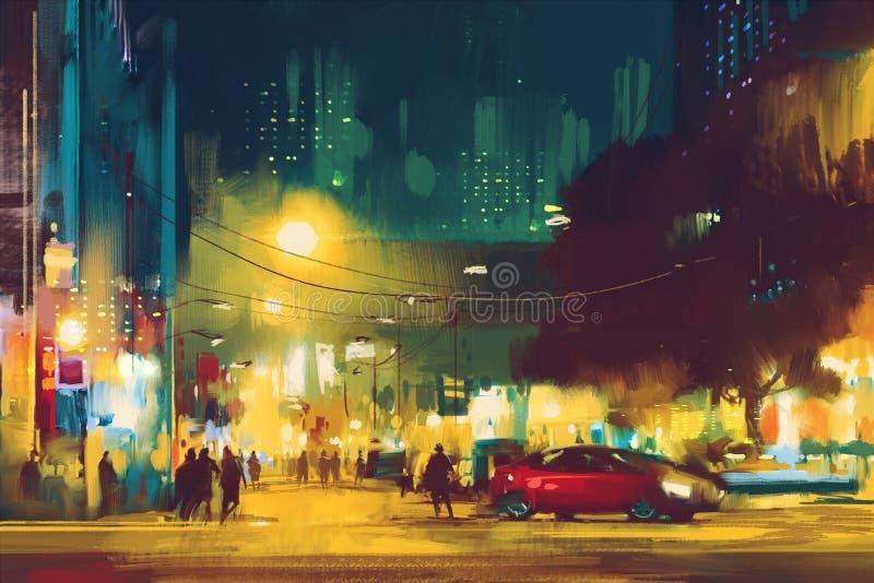 Nattplats av cityscape med belysning vektor illustrationer
