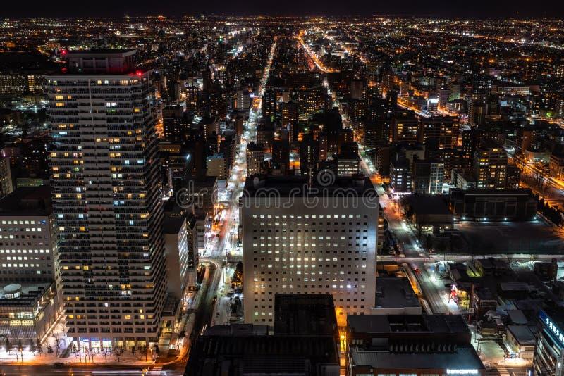 Nattplats av Sapporo Hokkaido Japan i vinter royaltyfri bild