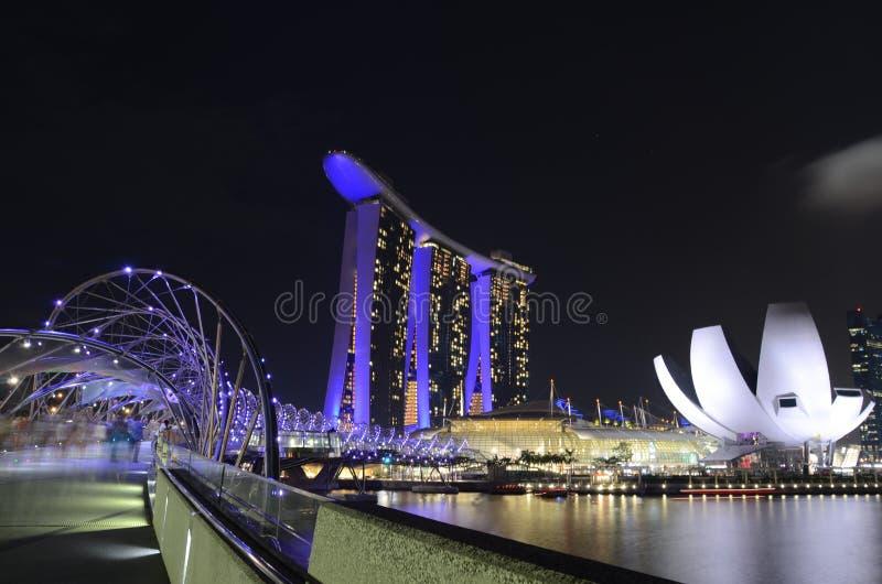 Nattplats i Singapore Marinafjärd royaltyfria foton