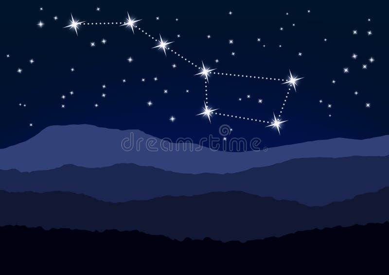 Nattplats, Karlavagnen ovanför berg royaltyfri illustrationer