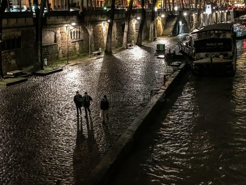 Nattplats längs Seinen, Paris, Frankrike: gångare och pråm under ljus arkivbilder