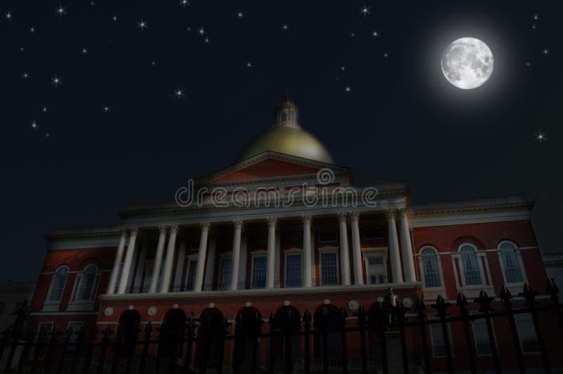 Nattplats, Massachusetts tillståndshus fotografering för bildbyråer