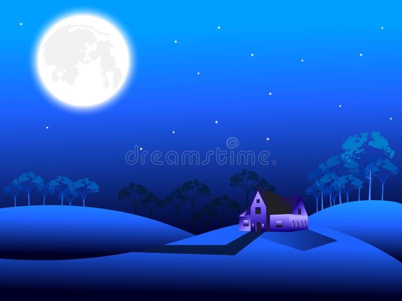 Nattplatsbakgrund med fullmånen och stjärnklar himmel, träd, hus på kullarna vektor illustrationer