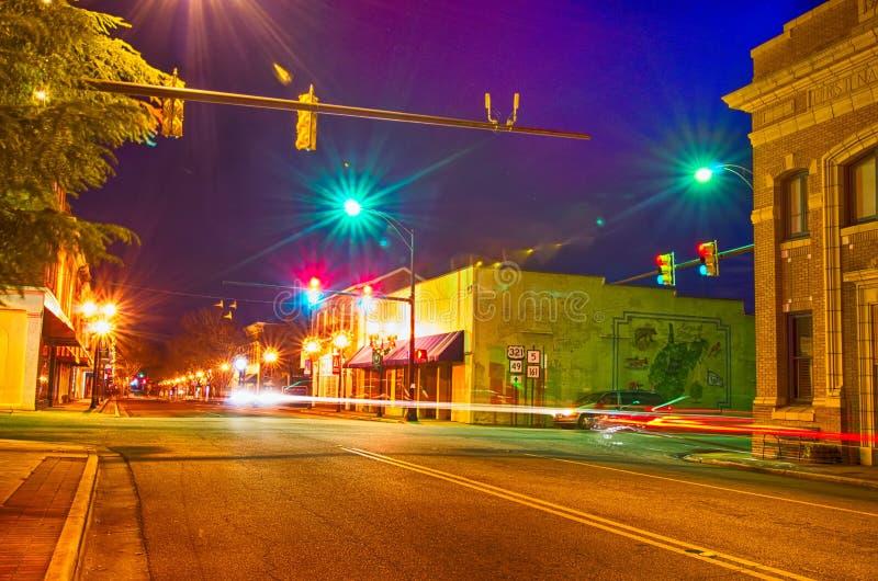 Nattplatser runt om staden South Carolina för ros för oldeyork vit arkivbilder