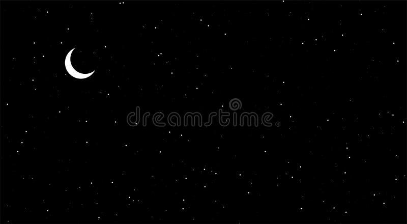 Nattplatser, skinande stjärnor i natten, svart bakgrund Moon i sky royaltyfri illustrationer