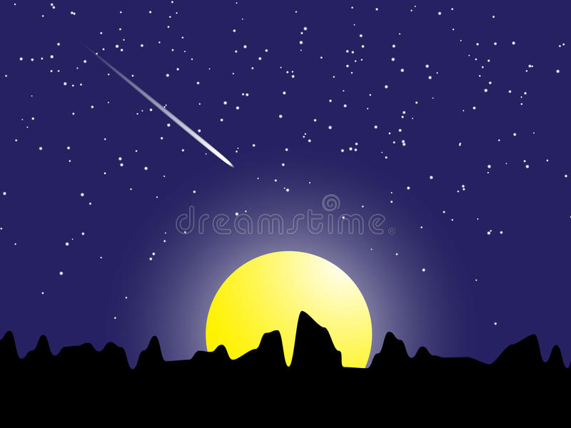 Nattplatsmeteor med den stjärna- och för måneljus vektorillustrationen vektor illustrationer